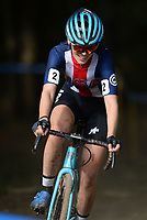 NWA Democrat-Gazette/ANDY SHUPE<br /> Clara Honsinger competes Saturday, Oct. 5, 2019, during the inaugural FayetteCross two-day cyclocross race series on Millsap Mountain at Centennial Park in Fayetteville. Visit nwadg.com/photos to see more photographs from the race.