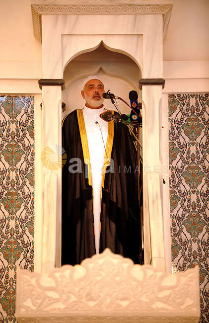 Palestinian prime minister in Gaza Strip, Ismail Haniyeh attends Friday prayers in Alnor in the Sudan's capital of Al-Khartoum on December 30, 2011. Photo by Mohamad Ostaz