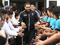 Kiwis captain Adam Blair is welcomed by school children.<br /> Rugby League World Cup 2017 Team Welcome at Karanga Plaza, Wynyard Quarter, Auckland, New Zealand. Wednesday 25 October 2017 © Copyright Photo: Andrew Cornaga / www.Photosport.nz MANDATORY CREDIT/BYLINE Andrew CORNAGA/SWpix.com/PHOTOSPORTNZ