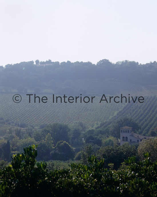 The house has an impressive and romantic view of the vinyards and rolling hills that surround it