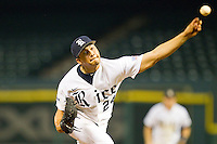 Relief pitcher Abe Gonzales #24 of the Rice Owls in action against the Kentucky Wildcats at Minute Maid Park on March 4, 2011 in Houston, Texas.  Photo by Brian Westerholt / Four Seam Images