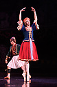 London, UK. 12.09.2018. Les Ballets Trockadero de Monte Carlo (The Trocks) return to the UK and receives their Ireland premiere during an eight-week, twelve venue tour, that opens at the Peacock , London, on 12th September, and concludes at the Grand Opera House, Belfast, on 3rd November. the dancers are: Joshua Thake (Eugenia Repelski), Jack Furlong Jr (Guzella Verbitskaya), Alberto Pretto (Nina Immobilashvili), Roberto Vega (Mikhail Mypansarov), Kevin Garcia (Sergey Legupski), Duane Gosa (Helen Highwaters). Picture shows: Joshua Thake (Eugenia Repelskii) in La Trovatiara Pas de Cinq. Photograph © Jane Hobson.