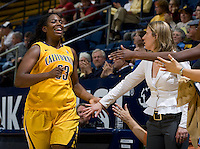 Talia Caldwell of California slaps hands with California head coach Lindsay Gottlieb during the game against St. Mary's at Haas Pavilion in Berkeley, California on November 15th, 2012.  California defeated St. Mary's, 89-41.