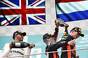 1st October 2017, Sepang, Malaysia;  FIA Formula One World Championship, Grand Prix of Malaysia, 44 Lewis Hamilton (GBR, Mercedes AMG Petronas F1 Team), 3 Daniel Ricciardo (AUS, Red Bull Racing), 33 Max Verstappen (NLD, Red Bull Racing), Sepang Malaysia celebrate on the podium