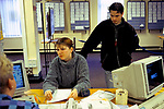 Job Centre young woman out of work looking for a work being interviewed. 1998 1990s  Mountain Ash Wales UK
