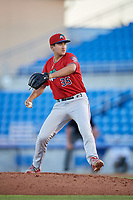 Fort Myers Miracle relief pitcher Hector Lujan (35) delivers a pitch during a game against the Dunedin Blue Jays on April 17, 2018 at Dunedin Stadium in Dunedin, Florida.  Dunedin defeated Fort Myers 5-2.  (Mike Janes/Four Seam Images)