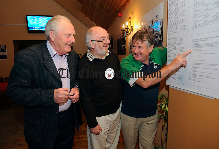 John Joe Bateman, Tom Lyons and Billy Ryan   at the commemoration of the 60's in Parteen and Meelick GAA, winners of the Old Ground Cup in 1963, the county cup in 1968, and footballers of that period, at Ray Mc Mahons, Blackwater. Photograph by John Kelly.