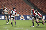 Blair Feeney looks to pass to Nigel Watson & Siale Piutau during the Air NZ Cup week 5 game between Waikato & Counties Manukau played at Rugby Park, Hamilton on 26th of August 2006.