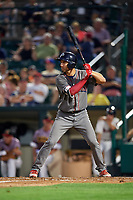 Lehigh Valley IronPigs third baseman Mitch Walding (10) at bat during a game against the Rochester Red Wings on June 29, 2018 at Frontier Field in Rochester, New York.  Lehigh Valley defeated Rochester 2-1.  (Mike Janes/Four Seam Images)