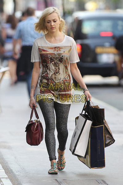 Fearne Cotton arriving at the studios of BBC Radio 1, London, England..May 29th, 2012.full length grey gray leggings beige brown print t-shirt maroon burgundy bag purse shopping green sandals.CAP/IA.©Ian Allis/Capital Pictures.