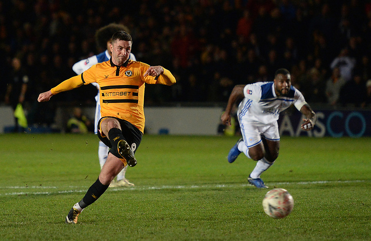 Newport County's Padraig Amond scores his side's second goal <br /> <br /> Photographer Ian Cook/CameraSport<br /> <br /> The Emirates FA Cup Third Round - Newport County v Leicester City - Sunday 6th January 2019 - Rodney Parade - Newport<br />  <br /> World Copyright &copy; 2019 CameraSport. All rights reserved. 43 Linden Ave. Countesthorpe. Leicester. England. LE8 5PG - Tel: +44 (0) 116 277 4147 - admin@camerasport.com - www.camerasport.com