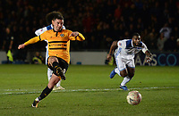 Newport County's Padraig Amond scores his side's second goal <br /> <br /> Photographer Ian Cook/CameraSport<br /> <br /> The Emirates FA Cup Third Round - Newport County v Leicester City - Sunday 6th January 2019 - Rodney Parade - Newport<br />  <br /> World Copyright © 2019 CameraSport. All rights reserved. 43 Linden Ave. Countesthorpe. Leicester. England. LE8 5PG - Tel: +44 (0) 116 277 4147 - admin@camerasport.com - www.camerasport.com