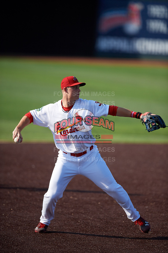 Johnson City Cardinals third baseman Nolan Gorman (4) throws to first base during a game against the Danville Braves on July 29, 2018 at TVA Credit Union Ballpark in Johnson City, Tennessee.  Johnson City defeated Danville 8-1.  (Mike Janes/Four Seam Images)