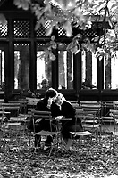 Lovers in a caf&eacute; in luxembourg garden.<br />