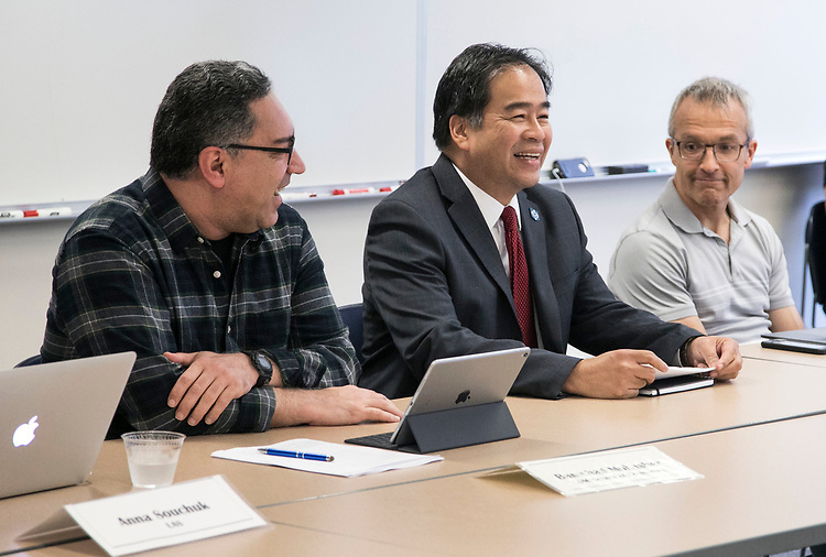 DePaul University President A. Gabriel Esteban, Ph.D., speaks to members of the Faculty Council Wednesday, Sept. 13, 2017, during their first meeting of the 2017-2018 academic year. (DePaul University/Jamie Moncrief)