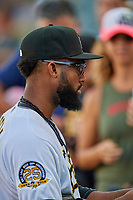 Jo Adell (26) of the Salt Lake Bees before the game against the New Orleans Baby Cakes at Smith's Ballpark on August 4, 2019 in Salt Lake City, Utah. The Baby Cakes defeated the Bees 8-2. (Stephen Smith/Four Seam Images)