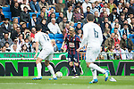 Real Madrid's Alvaro Arbeloa and Nacho Fernandez and Sociedad Deportiva Eibar's Keko Gontan during La Liga match. April 09, 2016. (ALTERPHOTOS/Borja B.Hojas)