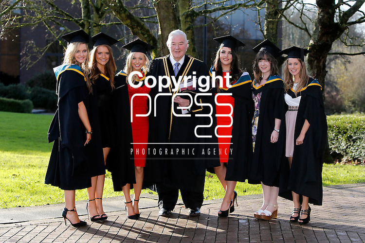REPRO FREE<br /> 21/01/2015<br /> Fiona Lowe, Carrick on Shannon, Co. Leitrim, Ruth Storan, Ballyburke, Co. Galway, Grace Molloy, Carrick on Shannon, Co. Leitrim, Amy Corbett, Headword, Co. Galway, Cathy Moynihan, Ennis, Co. Clare and Aine Campbell, Athlone who graduated with Masters in Arts and Psychology as the University of Limerick continues three days of Winter conferring ceremonies which will see 1831 students conferring, including 74 PhDs. <br /> Pictured here with Michael Houlihan, UL.<br /> UL President, Professor Don Barry highlighted the increasing growth in demand for UL graduates by employers and the institution&rsquo;s position as Sunday Times University of the Year. <br /> Picture: Don Moloney / Press 22