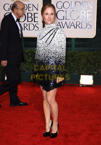 SARAH SIEGEL MAGNESS  .67th Golden Globe Awards held Beverly Hilton, Beverly Hills, California, USA..January 17th, 2010.globes full length black white high collar dress long sleeves beads beaded  clutch bag.CAP/ADM/KB.©Kevan Brooks/Admedia/Capital Pictures