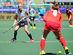 The Hague, Netherlands, June 13: Hannah Krueger #15 of Germany defends during the match during the field hockey placement match (Women - Place 7th/8th) between Korea and Germany on June 13, 2014 during the World Cup 2014 at Kyocera Stadium in The Hague, Netherlands. Final score 4-2 (2-0)  (Photo by Dirk Markgraf / www.265-images.com) *** Local caption ***