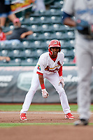Springfield Cardinals left fielder Magneuris Sierra (29) leads off first base during a game against the Corpus Christi Hooks on May 31, 2017 at Hammons Field in Springfield, Missouri.  Springfield defeated Corpus Christi 5-4.  (Mike Janes/Four Seam Images)