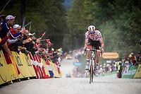 Tim Wellens (BEL/Lotto-Soudal) up the gravel section in the final stretch to the finish line up La Planche des Belles Filles<br /> <br /> Stage 6: Mulhouse to La Planche des Belles Filles (157km)<br /> 106th Tour de France 2019 (2.UWT)<br /> <br /> ©kramon