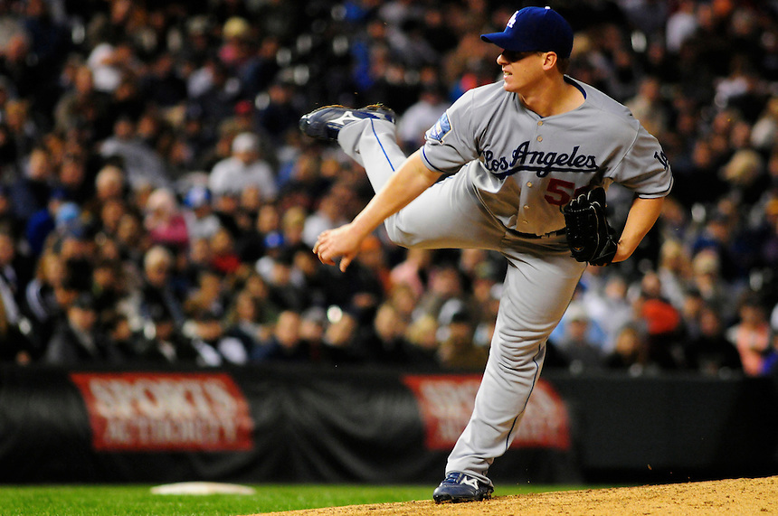 12 September 2008: Los Angeles Dodgers pitcher Chad Billingsly follows through on a pitch against the Colorado Rockies. The Dodgers defeated the Rockies 7-2 at Coors Field in Denver, Colorado. FOR EDITORIAL USE ONLY