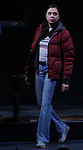 """Bel Powley taking her first performance curtain call bow for """"Lobby Hero"""", marking Evans' Broadway debut and the inaugural performance at Second Stage's Hayes Theater on March 1, 2018 at The Hayes Theatre in New York City."""