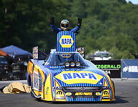 Jun 17, 2018; Bristol, TN, USA; NHRA funny car driver Ron Capps celebrates after winning the Thunder Valley Nationals at Bristol Dragway. Mandatory Credit: Mark J. Rebilas-USA TODAY Sports