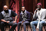 """James Monroe Iglehart, Tyler McKenzie and Carvens Lissaint from the 'Hamilton' cast during a Q & A before The Rockefeller Foundation and The Gilder Lehrman Institute of American History sponsored High School student #EduHam matinee performance of """"Hamilton"""" at the Richard Rodgers Theatre on October 25, 2017 in New York City."""
