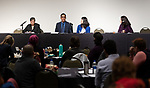 Robert Robinson, member of the MERG employee resource group, center left, speaks at the annual Diversity Forum, Tuesday, April 30, 2019 in the Lincoln Park Student Center. (DePaul University/Jeff Carrion)