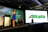 Milano, Aeroporto di Malpensa, presentazione del nuovo brand e nuova livrea degli aerei Alitalia. 5 Giugno 2015.<br /> Milan, Malpensa Airport, Alitalia introduces its new brand, new livery and new products of the company. June 5, 2015.