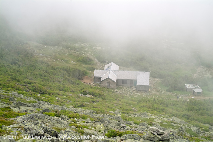 Appalachian Trail - Madison Hut on a foggy summer day from Mount Madison in the White Mountains, New Hampshire. Originally built in 1888, this is how the hut looked in 2007 before it was renovated in the fall and spring months of 2010-2011.