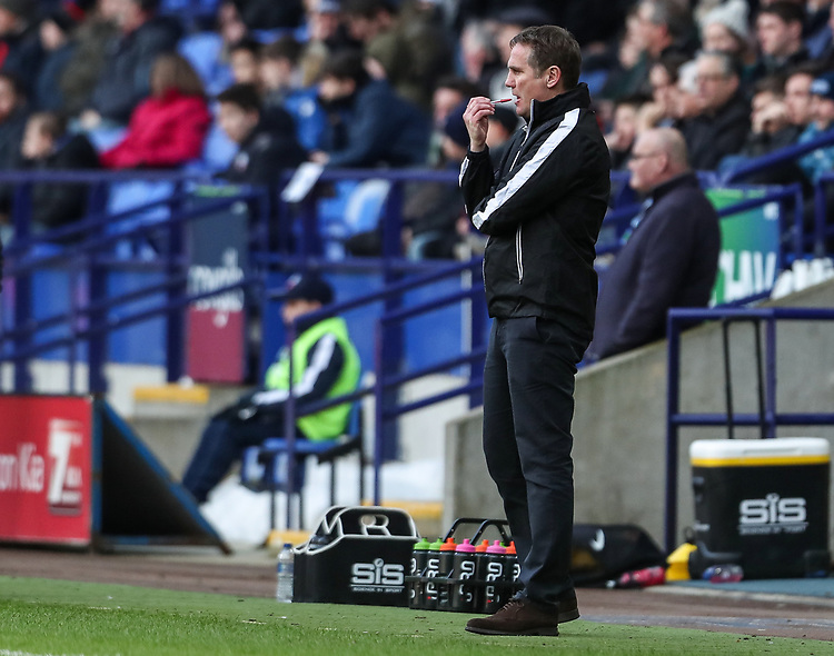 Bolton Wanderers' manager Phil Parkinson looks on <br /> <br /> Photographer Andrew Kearns/CameraSport<br /> <br /> The EFL Sky Bet Championship - Bolton Wanderers v Preston North End - Saturday 9th February 2019 - University of Bolton Stadium - Bolton<br /> <br /> World Copyright &copy; 2019 CameraSport. All rights reserved. 43 Linden Ave. Countesthorpe. Leicester. England. LE8 5PG - Tel: +44 (0) 116 277 4147 - admin@camerasport.com - www.camerasport.com