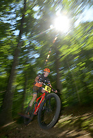 NWA Democrat-Gazette/BEN GOFF @NWABENGOFF<br /> Dathan Atchison of Branson, Mo. races in the Category 1 men 40 and older division Sunday, June 11, 2017, during the Battle for Townsend's Ridge mountain bike race at Hobbs State Park - Conservation Area near Rogers. The cross country race, presented by Ozark Off Road Cyclists, is part of the Arkansas Mountain Bike Championship Series. This year entry fees for racers 14 and younger were covered by Ozark Off Road Cyclists.
