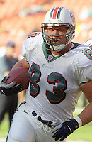 Hunter Goodwin in action as the Jets defeated the Dolphins 20-3 in Miami , FL on November 19, 2000. (Photo by Brian Cleary / www.bcpix.com)