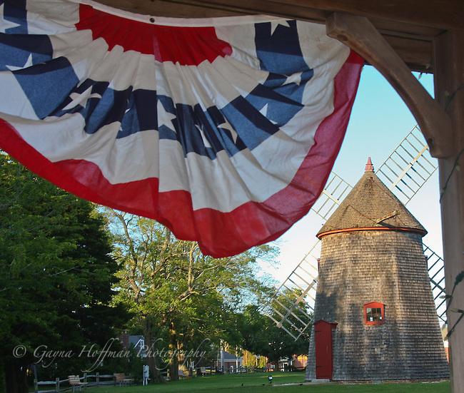 Windmill and U.S. flag bunting, Eastham, MA, Cape Cod