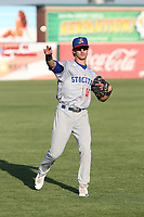 Eli White (15) of the Stockton Ports throws in the outfield before a game against the Lancaster JetHawks at The Hanger on May 12, 2017 in Lancaster, California. Lancaster defeated Stockton, 7-2. (Larry Goren/Four Seam Images)