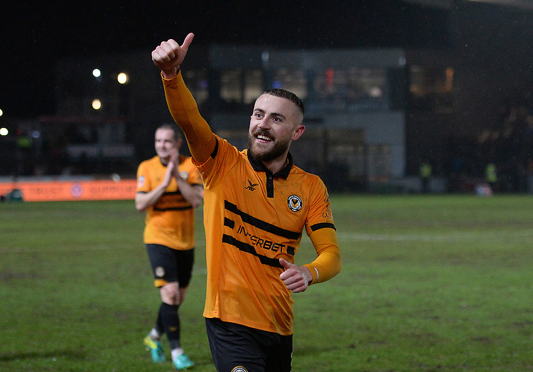Newport County's Dan Butler applauds the fans at the final whistle <br /> <br /> Photographer Ian Cook/CameraSport<br /> <br /> Emirates FA Cup Fourth Round Replay - Newport County v Middlesbrough - Tuesday 5th February 2019 - Rodney Parade - Newport<br />  <br /> World Copyright &copy; 2019 CameraSport. All rights reserved. 43 Linden Ave. Countesthorpe. Leicester. England. LE8 5PG - Tel: +44 (0) 116 277 4147 - admin@camerasport.com - www.camerasport.com