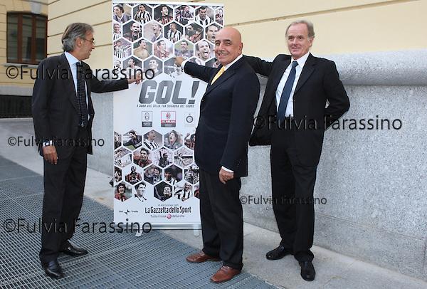 Milano, Massimo Moratti,  Adriano Galliani, Giovanni Cobolli Gigli alla Gazzetta dello Sport