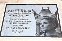 LOS ANGELES - MAY 24: Commemorative Plaque at a ceremony to unveil a commemorative plaque in honor of Carrie Fisher at TCL Chinese Theatre IMAX on May 24, 2018 in Los Angeles, CA
