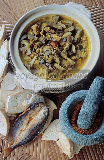 Asie/Malaisie/Bornéo: Restaurant Kiranav - Poisson séché au lait de coco et fruits du jacquier