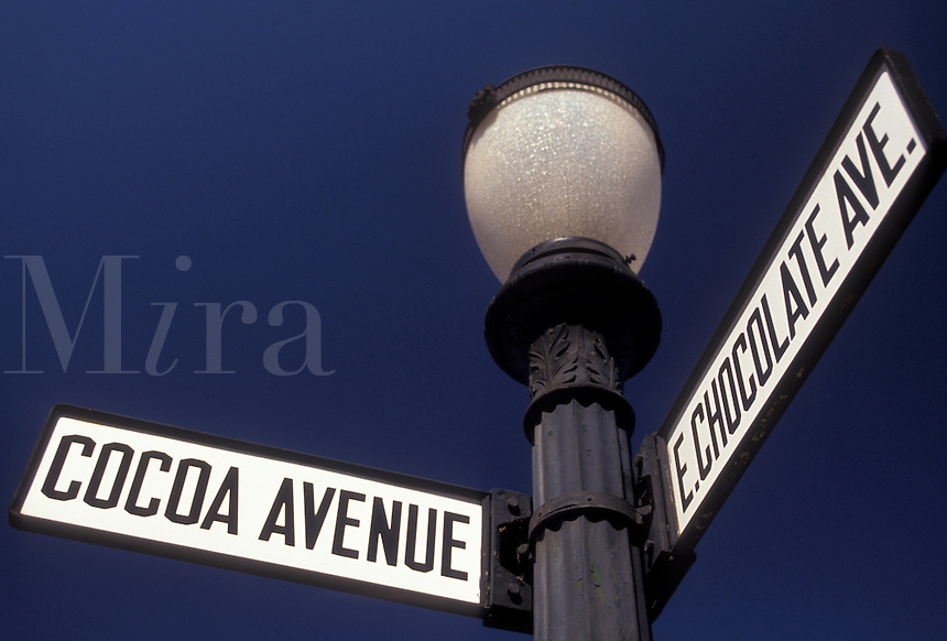 AJ2963, road signs, Hershey, chocolate, Pennsylvania, East Chocolate Avenue and Cocoa Avenue street signs on a black post against a blue sky in downtown Hershey in the state of Pennsylvania.