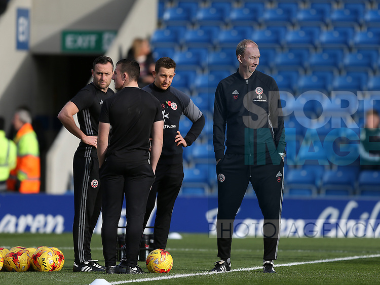 Carl Hopwood, Lee Ricketts and Alan Knill assistant manager during the English League One match at the Proact Stadium, Chesterfield. Picture date: November 13th, 2016. Pic Simon Bellis/Sportimage