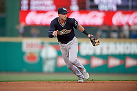 Scranton/Wilkes-Barre RailRiders shortstop Tyler Wade (9) during an International League game against the Rochester Red Wings on June 24, 2019 at Frontier Field in Rochester, New York.  Rochester defeated Scranton 8-6.  (Mike Janes/Four Seam Images)