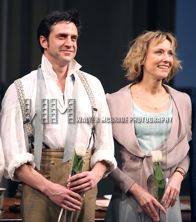 Raul Esparza & Lia Williams.during the Broadway Opening Night Curtain Call for 'Arcadia' at the Barrymore Theatre in New York City.