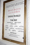 """Marquee of play """"Mothers and Sons"""" at the John Golden Theatre, New York City, New York. (Photo by Sue Coflin/Max Photos)"""
