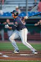 Connecticut Tigers right fielder Reynaldo Rivera (44) at bat during a game against the Auburn Doubledays on August 9, 2017 at Falcon Park in Auburn, New York.  Connecticut defeated Auburn 6-4.  (Mike Janes/Four Seam Images)