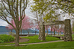 A historic rock entryway still parks the entrance to the city park in Coeur D Alene Idaho