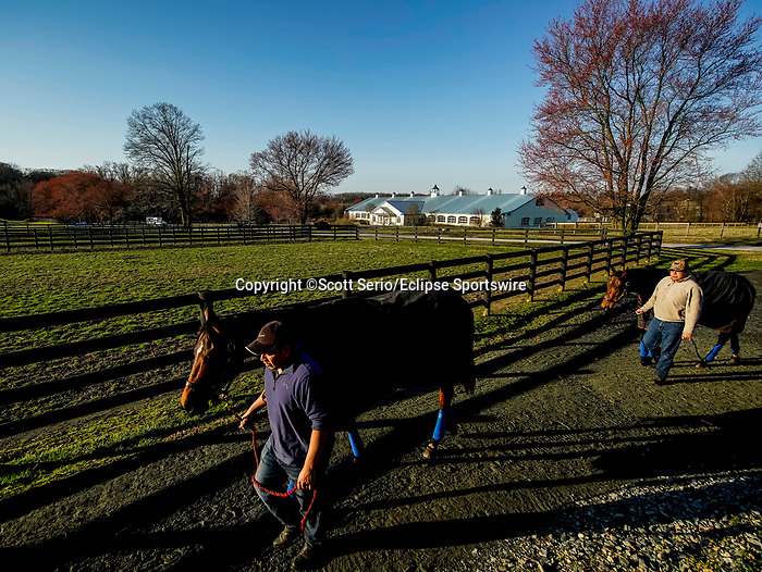 March 18, 2020 : Life goes as at Fair Hill Training Center in Fair Hill, Maryland. While no spectators are allowed at any race facility in the United States, or the world essentially, during the coronavirus pandemic, the horses still need to train and exercise. The Fair Hill Trainer Center in Cecil County in Maryland is still open for business and the equine athletes remain active through the COVID-19 crisis. Scott Serio/Eclipse Sportswire/CSM